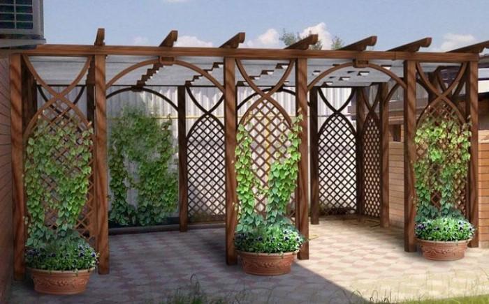 Конструкцию устанавливают на садовых дорожках в качестве арки или используют, чтобы скрыть неприглядное соседское ограждение / Фото: прорабофф.рф
