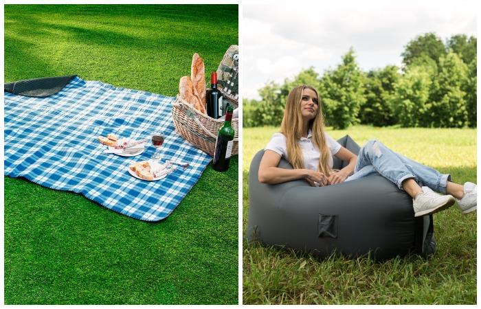 Плотный плед или надувное кресло-мешок помогут расположиться с комфортом