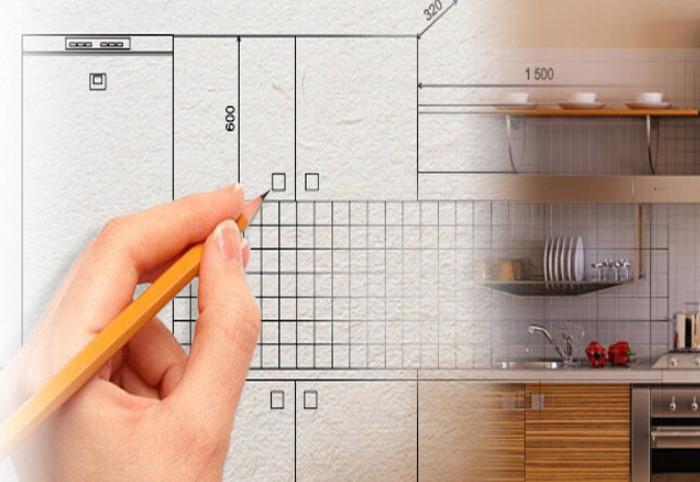 Возьмите лист бумаги и набросайте примерный план, где находятся шкафчики, мелкая и крупная техника / Фото: odstroy.ru