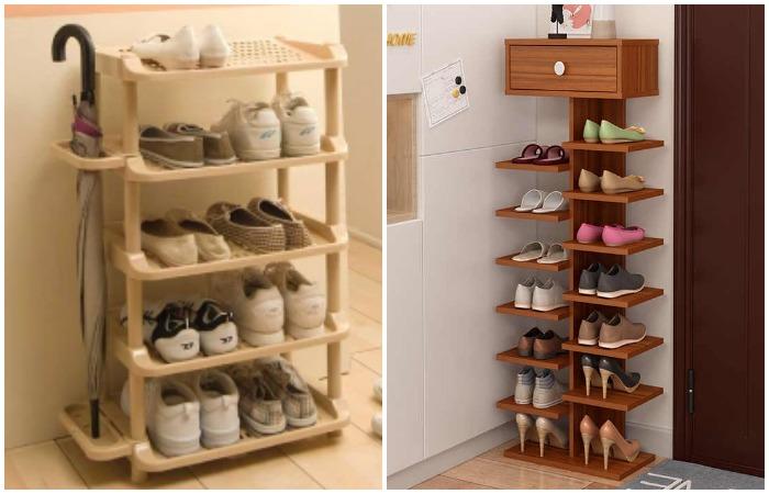 Этажерки не займут много места и помогут компактно разместить обувь