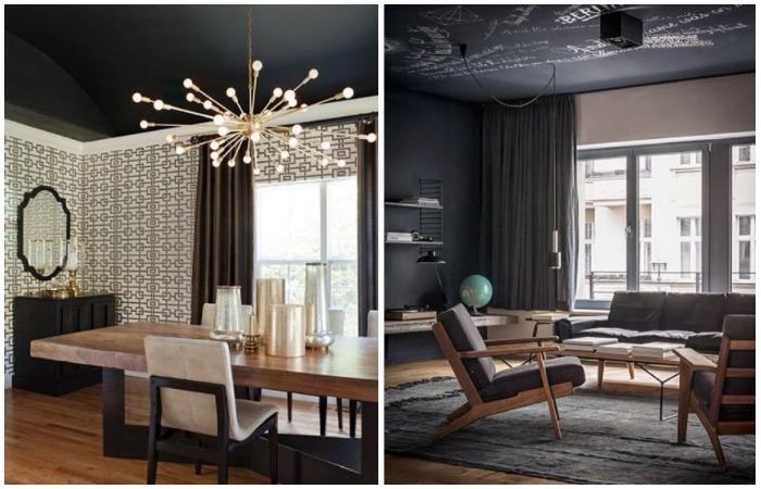 Черный потолок - это отличный способ скрыть неровности или сделать стильный акцент