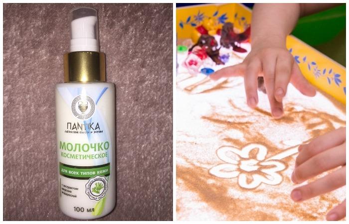 В молочко можно добавить краски или присыпать шедевр сверху песком