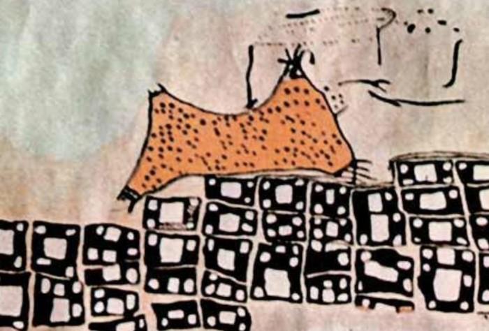 Черные клетки в самом деле обозначали дома, а вот размытые объекты рядом с ними - растекающуюся лаву с вулкана Хасан / Фото: imagecloud.thepaper.cn