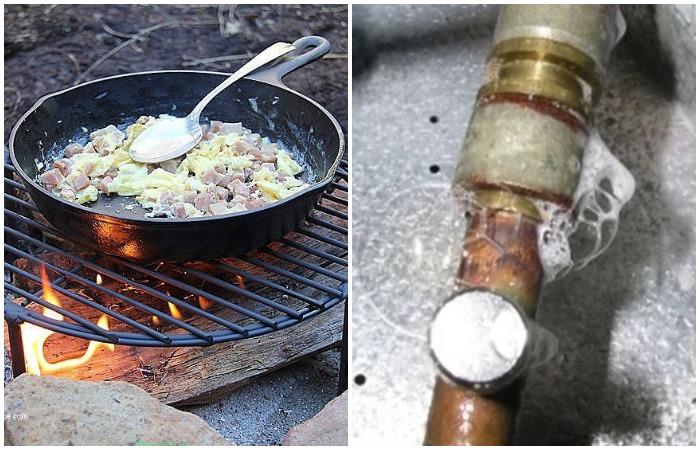 Благодаря мылу чугунная сковорода не покроется копотью и найдется утечка в трубе
