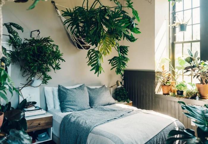Не превращайте спальню в ботанический сад, поскольку растения выделяют много углекислого газа / Фото: greensotka.ru