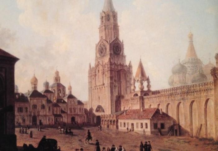 Спасская башня Кремля в XIX веке / Фото: ic.pics.livejournal.com