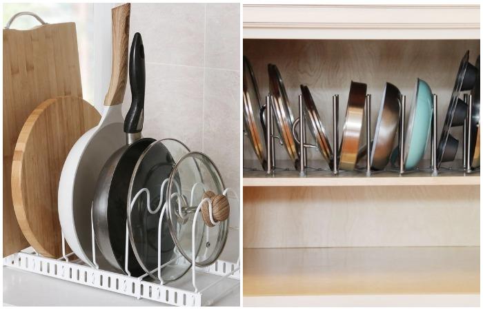 Стационарная или выдвижная стойка - подходит и для хранения сковородок, форм для выпечки