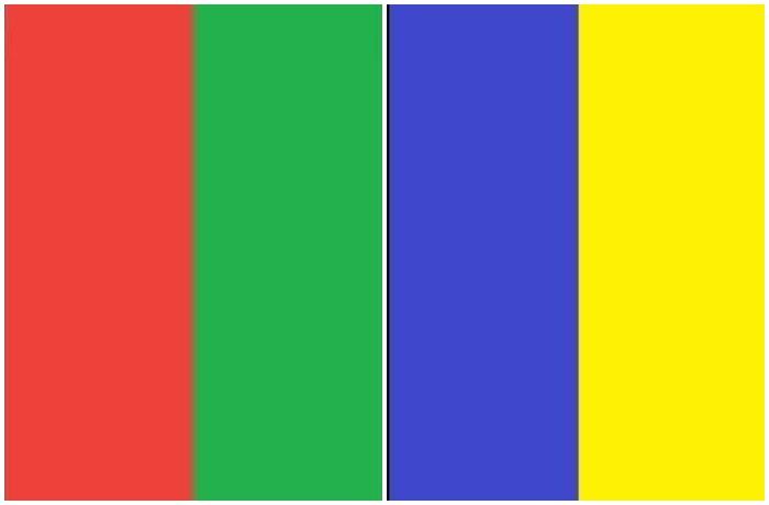 Это цвета, которые наше зрение не может уловить, а именно красно-зеленое и сине-желтое сочетания