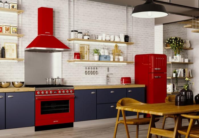 Например, вместо стандартного белого холодильника поставьте желтый или алый / Фото: kuhni-alliance.ru