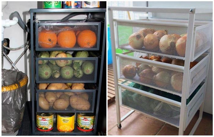 В выдвижных ящиках можно хранить не только бумагу и канцелярию, но и продукты