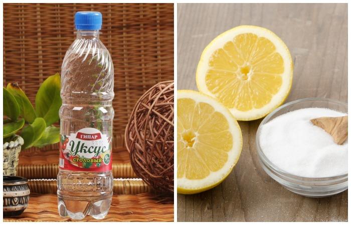 Кислота уксуса и лимона эффективно растворяет накипь