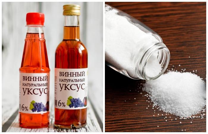 Винный уксус и соль справятся с очищением любых поверхностей