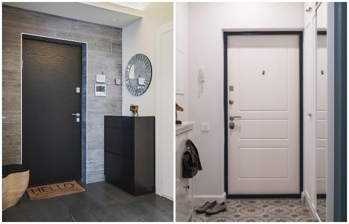 Входную дверь можно стилизовать под мебель или сделать такого же оттенка, как стены / Фото: severdv.ru