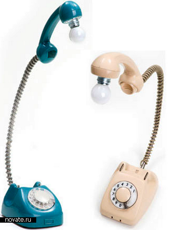 Дисковый телефон-лампа