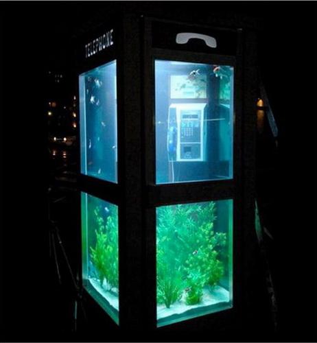 Телефонная будка, совмещенная с аквариумом