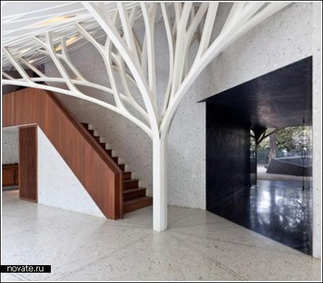 Деревянные колонны создадут атмосферу леса