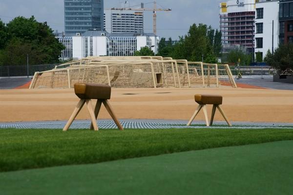 Парк над железной дорогой в Мюнхене