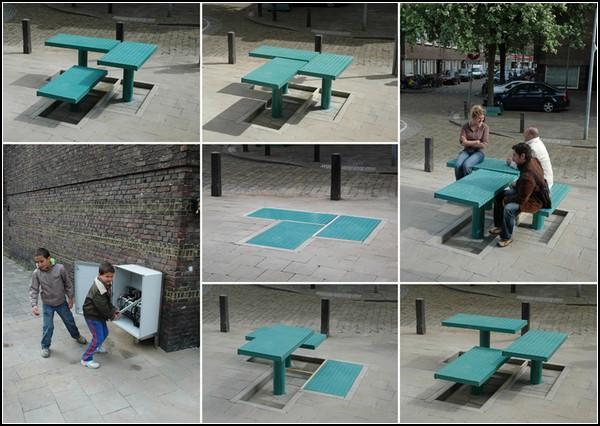Уличная мебель в стиле поп-ап