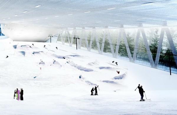 Горнолыжный курорт в небоскребе Skipark 360 в пригороде Стокгольма