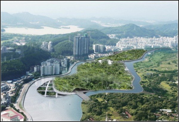 Эко-остров Eco-Land на границе Китая и Гонконга