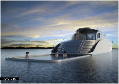 Бассейн-слайдер на яхте для очень богатых людей