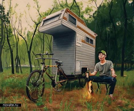 на велосипеде удобно путешествовать по лесу с велодомом
