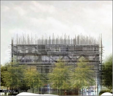 Деревянная шкура модерного здания