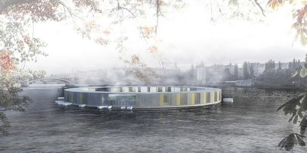 Плавающая баня посреди реки Влтава в Праге
