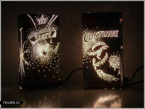 Светильники из старых упаковок