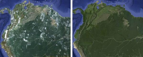 Безоблачное небо на Google Earth