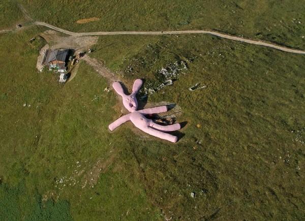 Гигантский розовый заяц на склоне горы в Италии