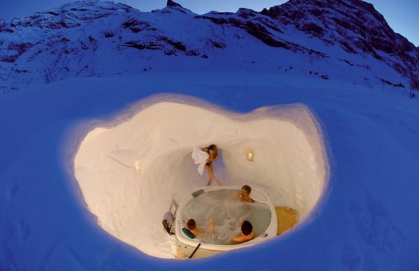 Снежная сауна в Швейцарии