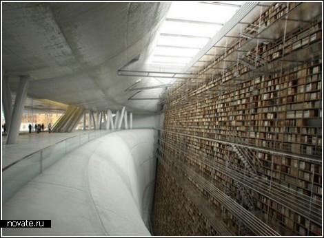 Бесконечная стена книг в Стокгольмской Библиотеке