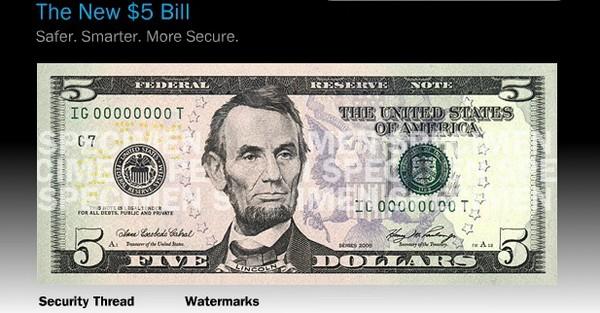 Новый дизайн банкнот американских долларов