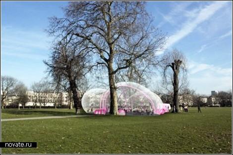 Надувной павильон – архитектура пузырей из жвачки