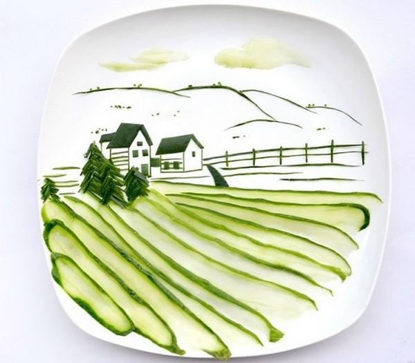 День 18, огуречный пейзаж, 31 Days of Creativity with Food, Хун И (Hong Yi)