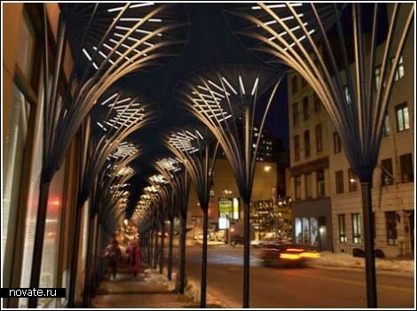 Светящиеся пальмы на улицах Нью-Йорка