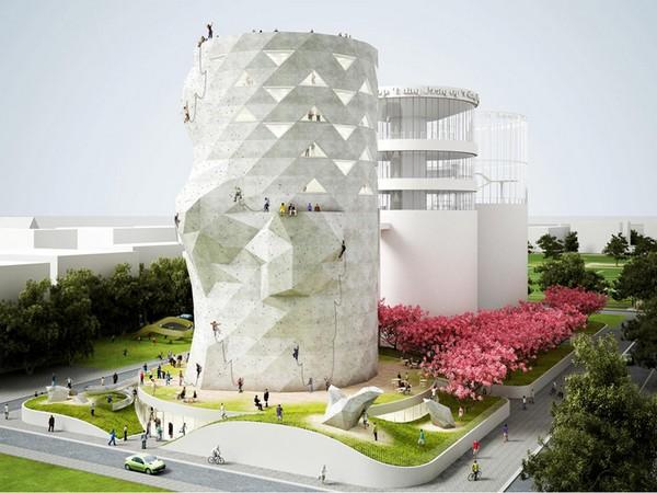 Скалодром Siloo O в бывшей силосной башне в Амстердаме