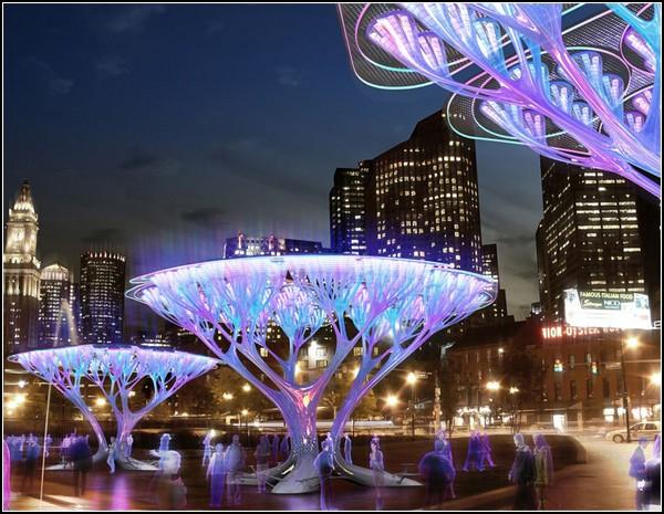 Искусственные деревья Treepods спасут экологию Бостона