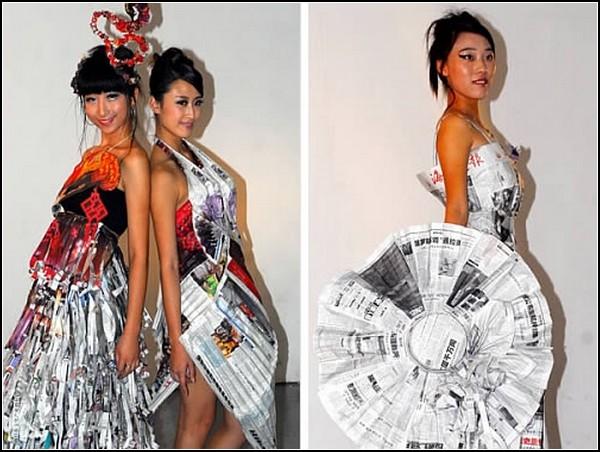 Платья из мусорных пакетов.
