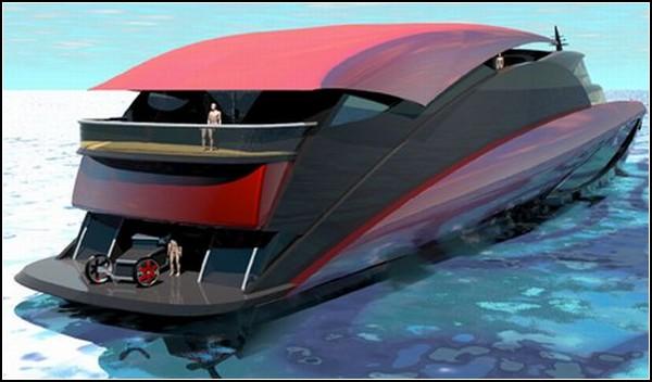 Яхта с дэнсполом и гаражом