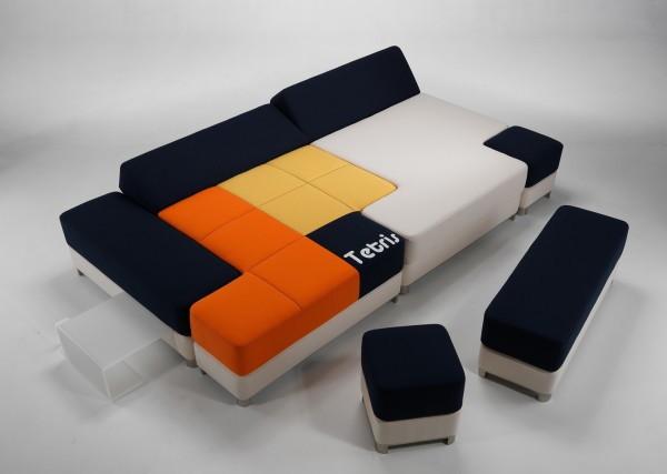 Tetris couch: диван-тетрис из разноцветных пуфиков и кушеток