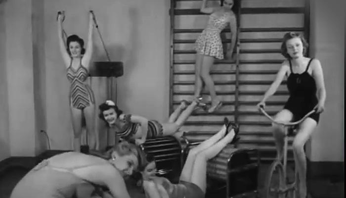 Диковинные спортивные тренажеры 1940х годов.