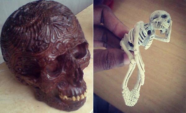 Резной череп из дерева с коровьими зубами / Скелет из оленьего рога.