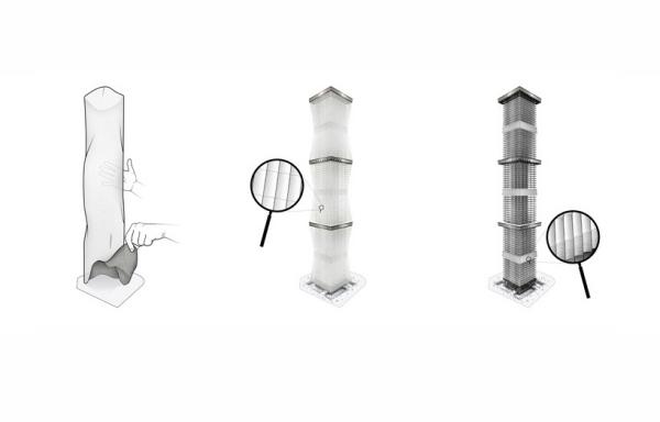 1. Внешний отражающий слой для отвода солнечных лучей; 2. Башня с раскрытой завесой; 3. Внешний вид башни при убранной завесе.