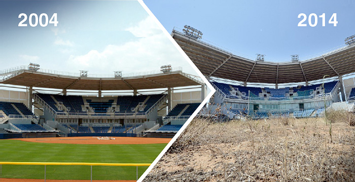 25 удручающих видов олимпийских объектов, которые были заброшены после проведения XXVIII летних игр в Афинах.