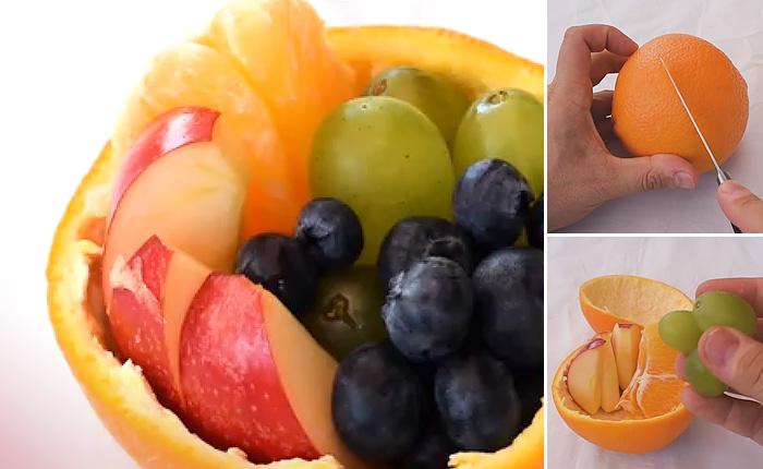 Самый простой и гениальный способ собрать небольшой фруктовый гостинец.