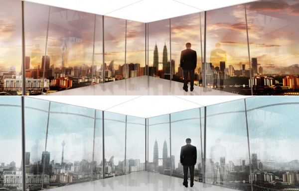 Панорамный вид изнутри здания: 1. Без завесы; 2. С раскрытой завесой.