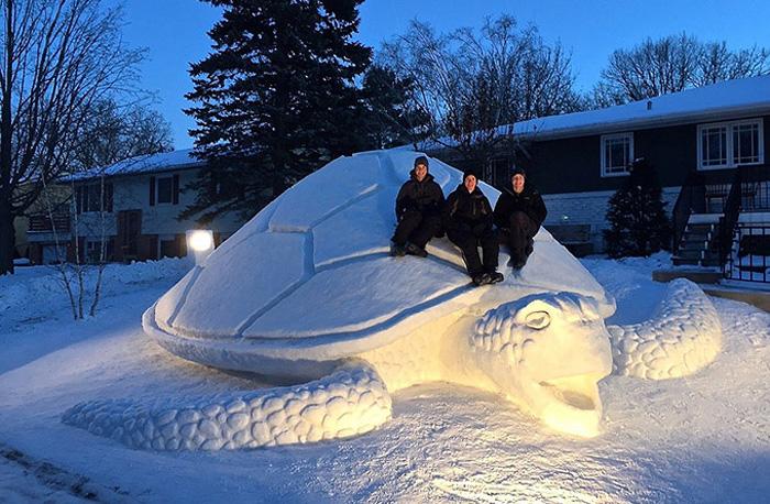Гигантская снежная скульптура в виде морской черепахи.