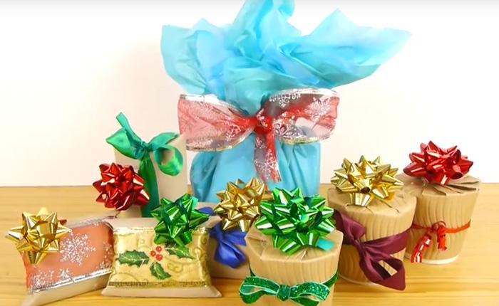 Несколько оригинальных способов упаковать новогодний подарок.